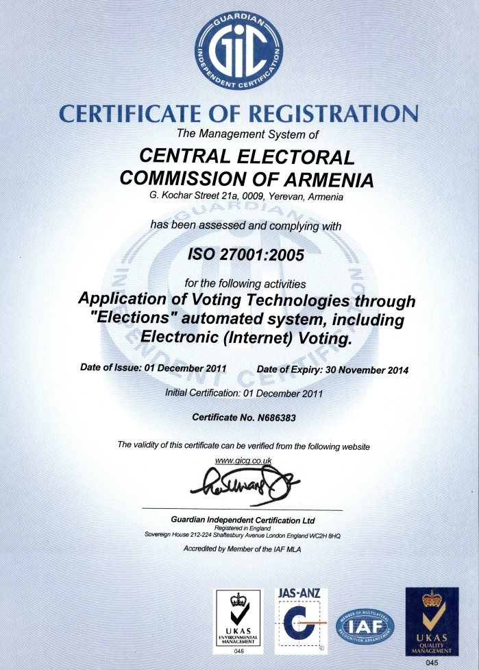 CERTIFICATE OF REGISTRATION CENTRAL ELECTORAL COMMISSION OF ARMENIA